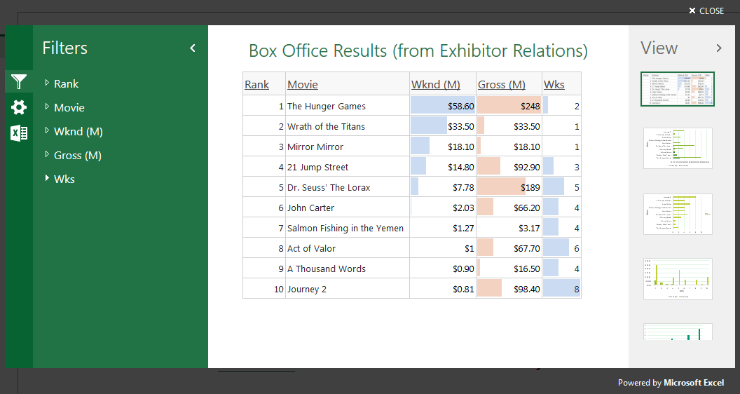 Excel mashup Interactive View