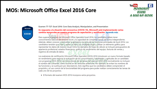 MOS. Microsoft Office Specialist Excel 2016 Core.