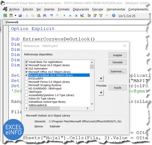 Activar la referencia Microsoft Outlook 16.0 Object Library